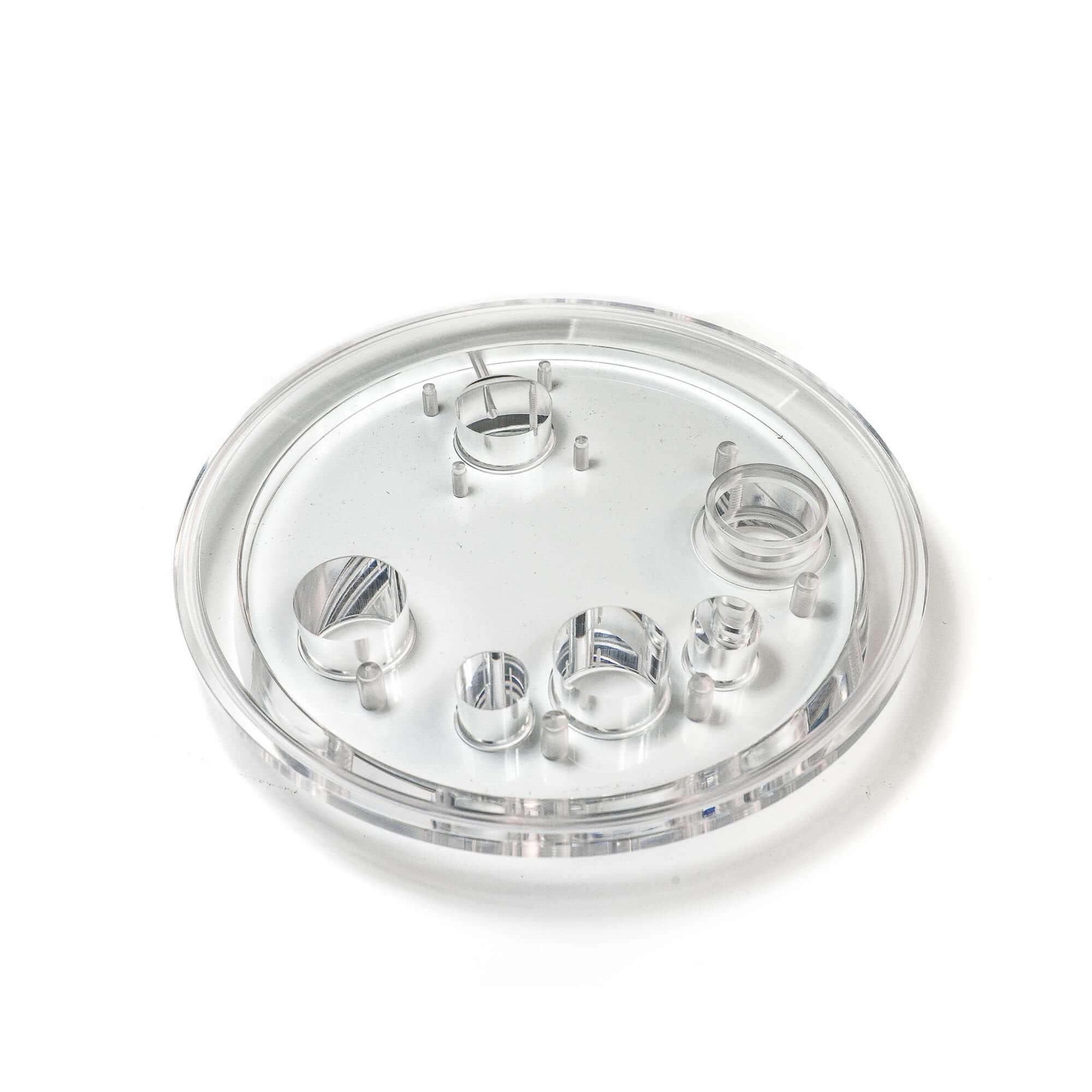 Acryline Schauglas aus Acrylglas technische teile gedreht gefräst gebohrt poliert zubehör acryl kunststoff produktion display