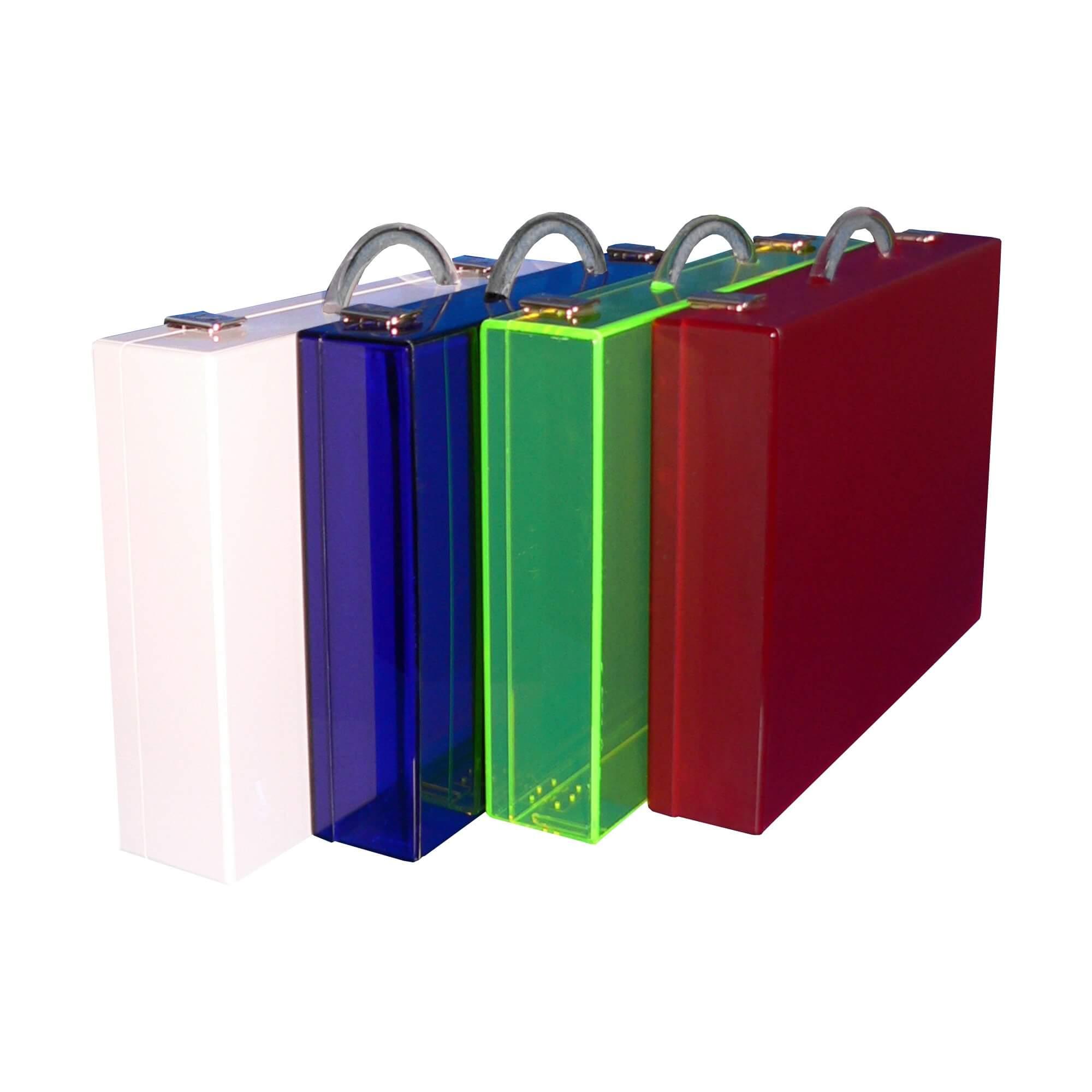 Acryline Koffer aus Acrylglas, tw. fluoriszierend koffer schachtel box acryl kunststoff werbung präsentation