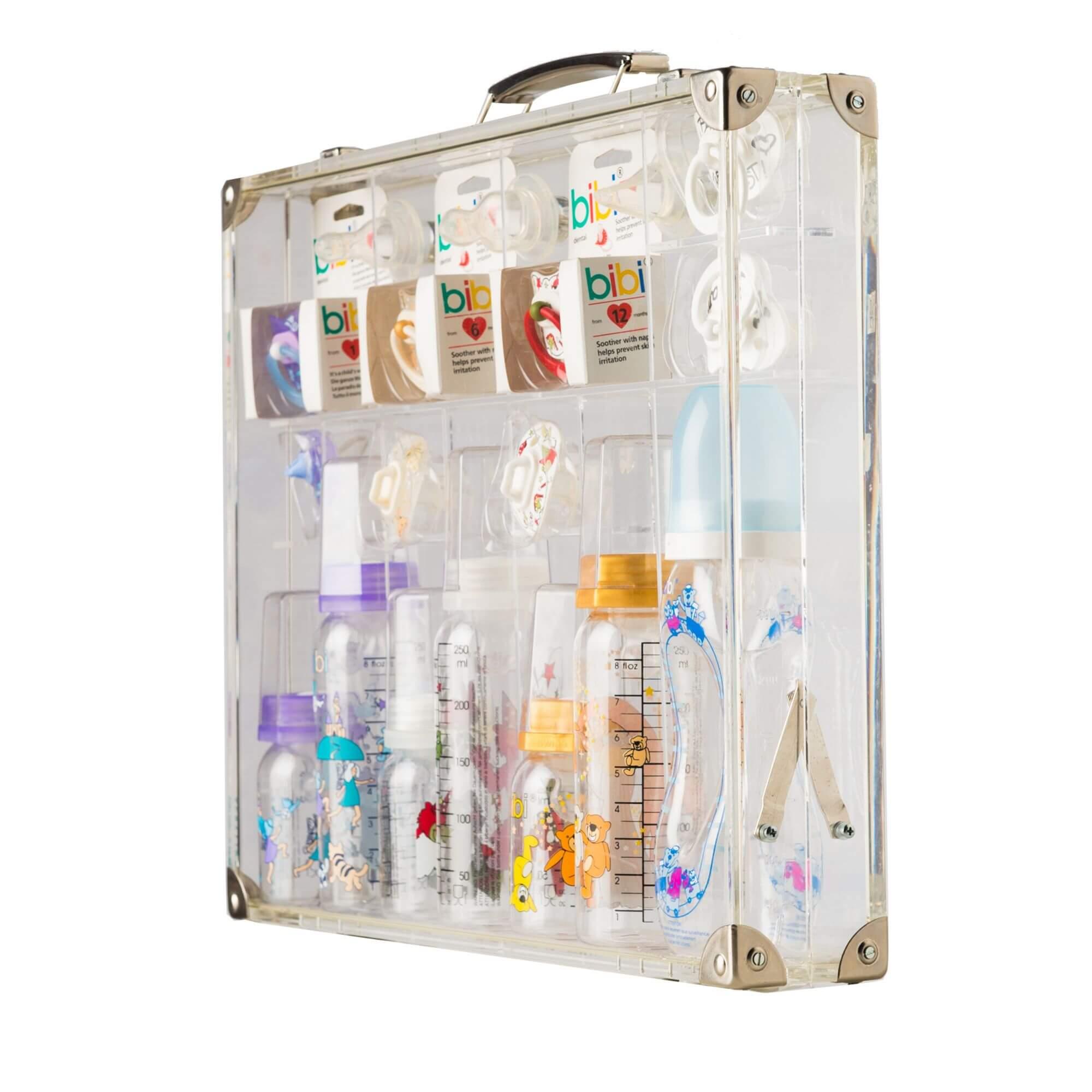 Acryline Valise de présentation pour des produits en verre acrylique acryl promotion sales decoration cadeau individuell valise display