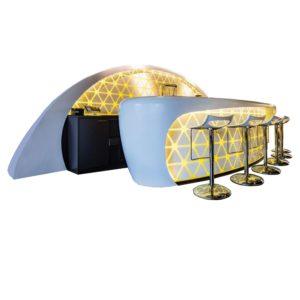 Acryline Bar-Elemente aus Acrylglas, hinterleuchtet Theke Bar Stehtisch Stehpult acryl kunststoff messestand ladenbau stühle
