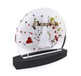 Acryline Pokal aus Acrylglas mit Rückseiten-Druck und Siebdruck auf Vorderseite auszeichnung ehrung trophäe siegerpokal acryl kunststoff bedruckt poliert lasergeschnitten geklebt award