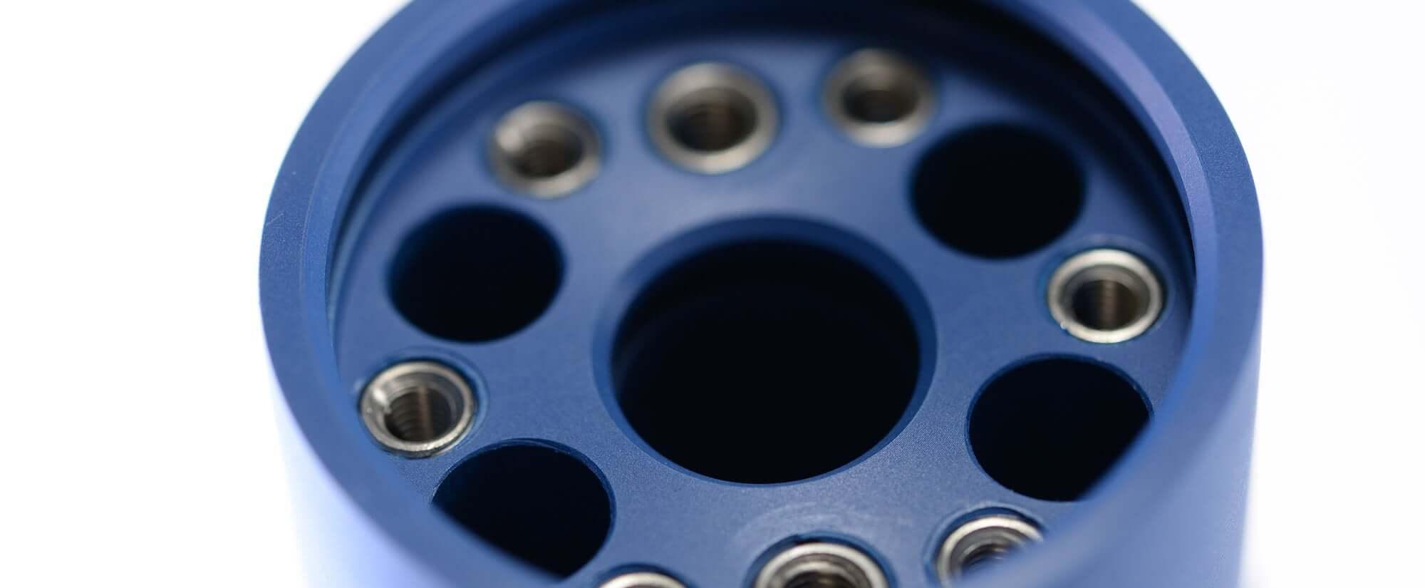 Acryline Wasserstator aus PPS blau technische teile gedreht PPS technisches cnc stator drehteil