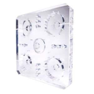 Acryline Basisplatte aus Acrylglas mit Tiefbohrungen technische teile gebohrt tiefgebohrt gefräst zubehör basisteil acryl kunststoff produktion