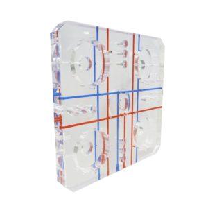 Acryline Basisplatte aus Acrylglas mit Tiefbohrungen technische teile gebohrt tiefgebohrt gefräst zubehör basisteil acryl kunststoff produktionque avec des alésages profonds pièces techniques forées profondément percés accessoires moulus de base partie acrylique production